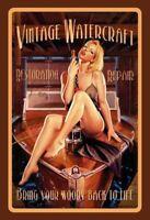 Vintage Watercraft Pin Up Girl Blechschild Schild gewölbt Tin Sign 20 x 30 cm