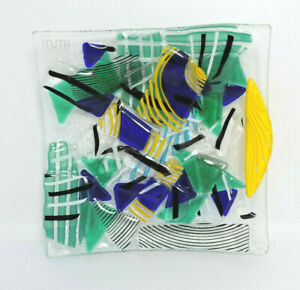 Dish Fused Glass Colorful Murano, Gift For Casa. Tray Designs Abstract