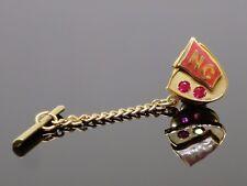"Vintage 1980s North Carolina (""NC"") 0.1CTW Ruby 10K Yellow Gold Tie Tack, 3.9g"