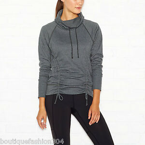 NWT Womens Lucy Activewear M Top Dark Gray Green Sleeves Pullover Cowl Neck New