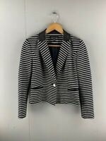 Forever New Womens Black White Striped Long Sleeve One Button Jacket Size 8