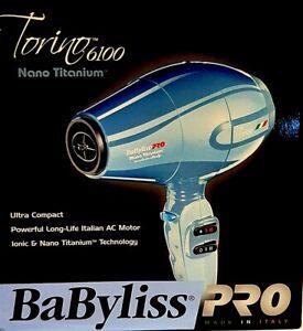 "Babyliss Pro - ""Nano TiTanium Torino 6100 Blue Hair Dryer"" - ( Made In Italy )"
