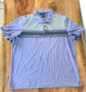 Calvin Klein Men's Polo Shirt Size XXL Short Sleeves Purple Gray 100% Cotton