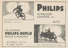 Z1646 Lampade per auto PHILIPS-DUPLO - Pubblicità d'epoca - 1930 Old advertising