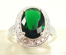 Gorgeous Woman Oval Cut 2.95ct Emerald 925 Silver Wedding Party Ring Size 10