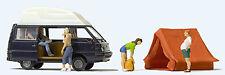 NEW RELEASE : HO Preiser 33258 Four Camping Figures , Camper Van & Tent 3Q7