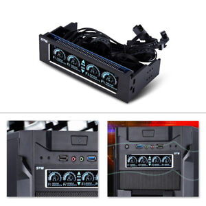 4-Fan PC CPU 3PIN+4PIN Computer Fan Speed Controller Cooling Front LCD Panel AFH