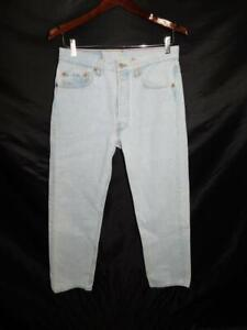 Vintage Levi's 501 32 x 29 Blue Jeans Button Fly Light Wash Tapered Leg USA Made