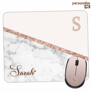 Personalised INITIALS Name Marble Glitter Mouse Mat Pad PC Laptop Computer Room
