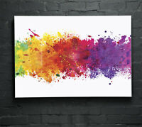 ANY SIZE Wall Art Glass Print Canvas Picture Large Colourful Splashes 37391728