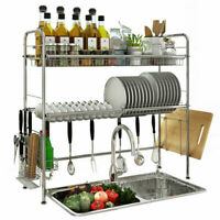 Sink Dish Drying Rack Cup Drainer Shelf Stainless Kitchen w/ Cutlery Holder Tray