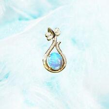 Sparking Blue colorful Solid Australia Opal 9K Gold Pendant W/0.17cts Diamond
