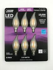 6 Feit Electric LED Candelabra Chandelier Dimmable Light Bulbs 3.8W 40 WATT Soft