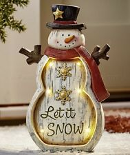 SNOWMAN LET IT SNOW LIGHTED CHRISTMAS STATUE YARD LAWN PORCH PATIO OUTDOOR DECOR