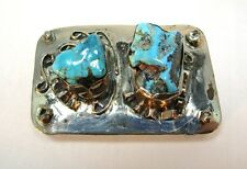 Vintage Very Unique Southwest Chunky Turquoise Silver Belt Buckle