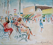 Original Watercolor Painting-CONEY ISLAND-EMMA WARFIELD THOMAS-Framed-1920's