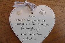 Personalised midwife plaque gift heart Thank you present