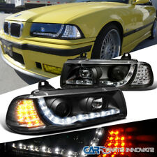 BMW 92-98 E36 325i 323i 2Dr Projector Headlights Black w/ Amber LED Signal Lamps