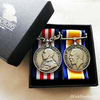 Military Medal + WW1 British War Medal - Royal Army George V Full Size Repro