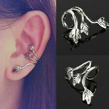 Women Silver Plated Stud Leaf Design Earring Cuff Wrap Clip Ear Gift 1pc