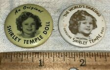 ANTIQUE 2X SHIRLEY TEMPLE DOLL CELLULOID PINBACK BUTTON ORIGINAL WORLD'S DARLING