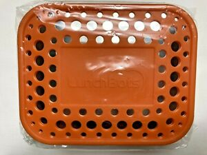 Lunchbots Stainless Steel Food Container 2 Section Orange Dots - New