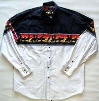 Roper Rodeo Mens Shirt Western Cowboy Snap Button XL X-Large Vintage