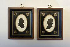 "Pair Of Framed George & Martha Washington Silhouettes Print Wallace Nutting 4"""