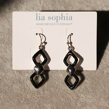 NWT lia sophia signed jewelry Axis Earrings Black Enamel Silver Hook Drop cute