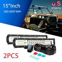 "Nilight 2PCS 15"" LED Light Bar Combo Driving Lamp Wiring Kit 5 Pin Rocker Switch"