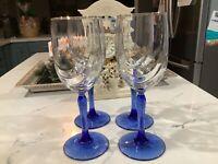 """Set of 4 Champagne Flutes Gold Rim Elegant Design Glasses With  Blue Stem 8"""""""