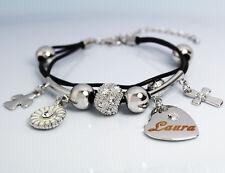 "White Gold Charm Name ""LAURA"" Bracelet - Birthday Christmas Easter Gifts For Her"