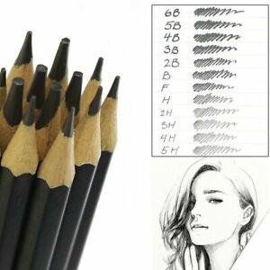 Set Of 12 GRADED ART SKETCHING PENCILS IN CASE HB Drawing/Shades/Light/Dark UK