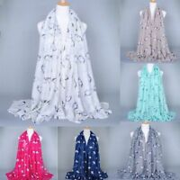 Voile Soft Animal Printed Silk Scarf Scarves Long Shawl Neck Wrap Rectangle