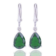 Authentic white Gold Filled Tear Drop Green CZ womens clip on Dangle Earrings