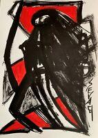 SEVARD Abstrakte Komposition Gemälde Zeichnung A4 Original Signiert Unikat N419