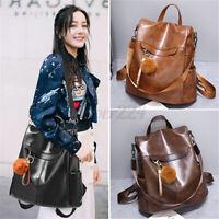 Women Leather School Backpack Messenger Shoulder Bag Travel Satchel Rucksack