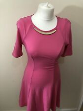 river island ladies dress pink swing dress short sleeves round neck size 10