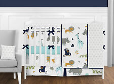 Sweet Jojo Navy Grey Mod Jungle Safari Unisex Girl Boy Crib Baby Bedding Set