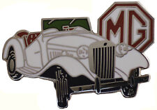MG TD car cut out lapel pin - White