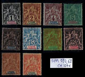 St Pierre & Miquelon : Série 59 à 68, Neufs * = Cote 107 € / Timbres DOM-TOM