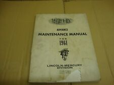 FORD Mercury Lincoln anticipo manuale di manutenzione 1961 ORIGINALE FORD LIBRO