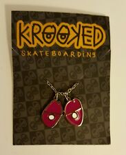 Krooked Eyes Skateboard Pendant Necklace Silver/Pink NWT