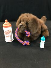 FurReal Friends Tuggin' Pup stuffed Plush Brown Growling Dog Rope With Bottles