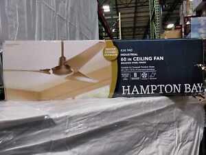 Hampton Bay Industrial 60 in. Indoor/Outdoor Brushed Steel Ceiling Fan with Wall