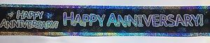 HAPPY ANNIVERSARY BANNER WITH A HOLOGRAPHIC EFFECT - APPROX 3M REPEATED 3 TIMES