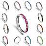 Stainless Steel Eternity Rhinestone Crystal Birthstone Stackable Band Ring 3mm
