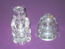 LENOX DISNEY CRYSTAL WINNIE THE POOH & BEEHIVE SALT & PEPPER POTS FIGURINES SET