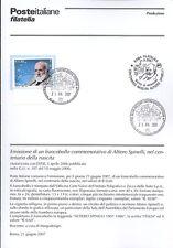 ITALIA 2007 ALTIERO SPINELLI  BOLLETTINO COMPLETO DI FRANCOBOLLI FDC