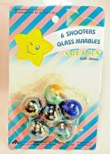 Lucky Star Vintage 1987 Set 6 Safe Fun Glass Marble Shooters 25mm MIB Blue Green